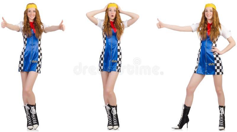 Die Schönheit im karierten Kleid stockfoto