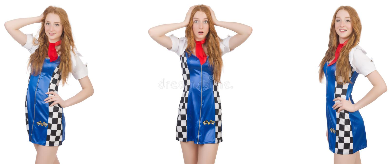 Die Schönheit im karierten Kleid stockbild
