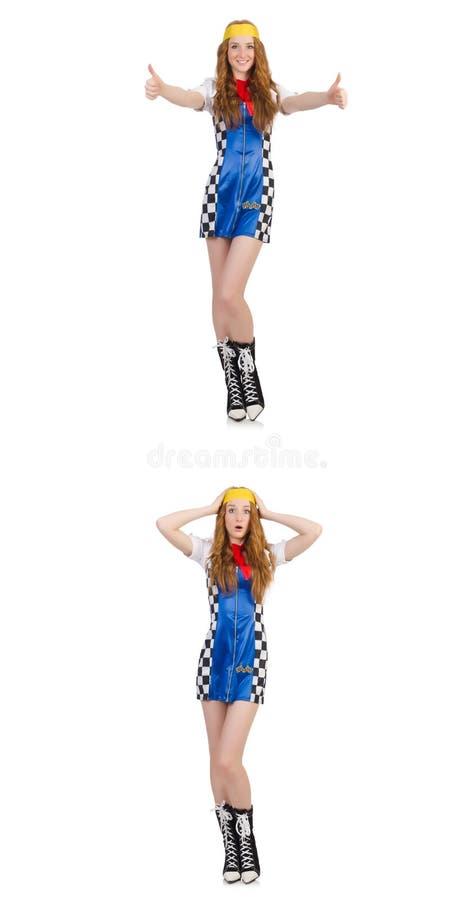Die Schönheit im karierten Kleid stockfotos