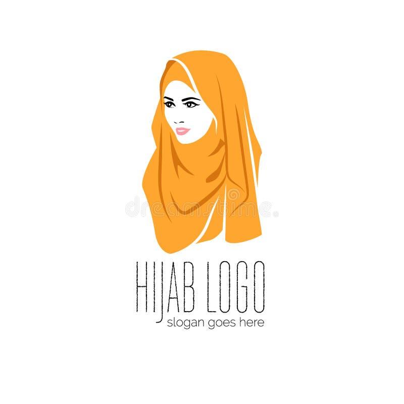 Die Sch?nheit, die bunte hijab Ikone, hijab Logo tr?gt, lokalisierte lizenzfreie abbildung