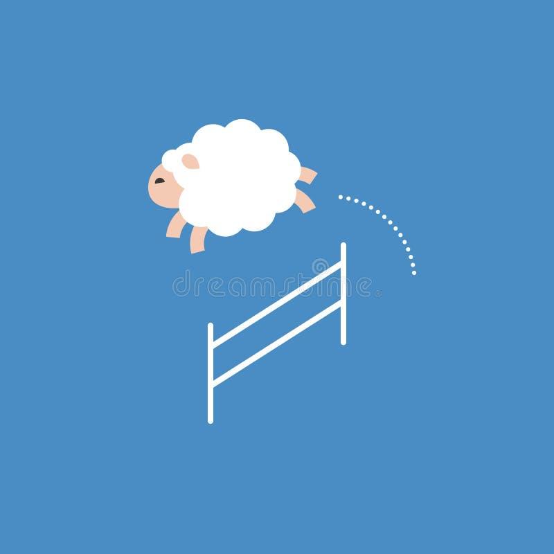 Die Schafe springend über einen Zaun, Sprungsdurchlaufhindernis, flacher Entwurf vektor abbildung