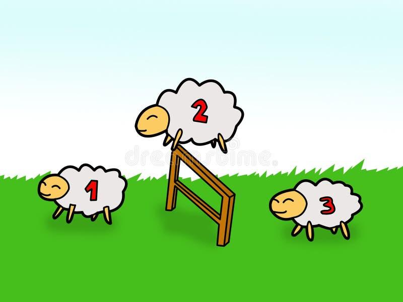 Die Schafe springend über Zaun lizenzfreie abbildung