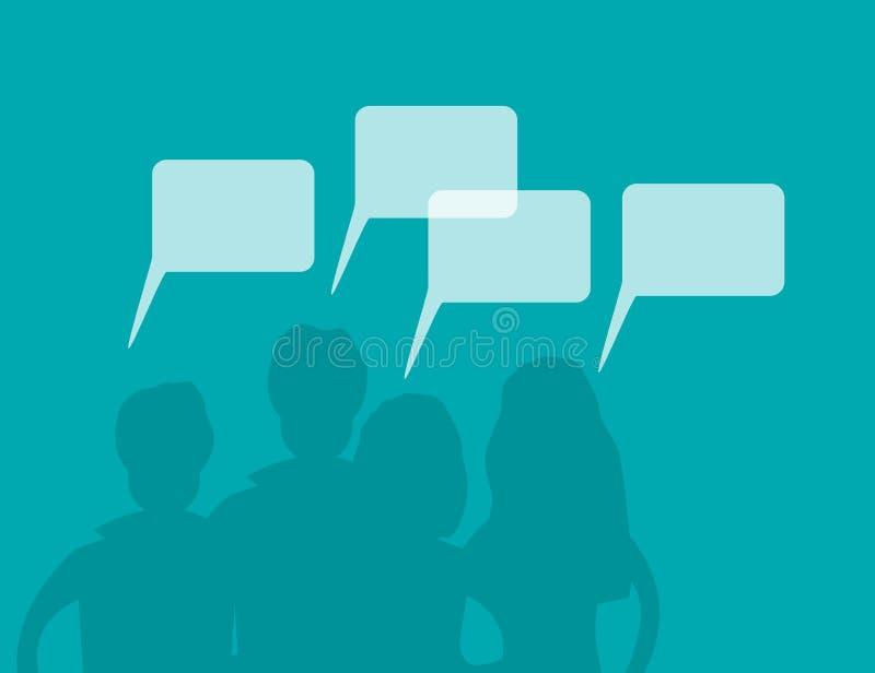 Die Schattenbilder der Männer und Frauenmit Sprache-Blasen Gießen Sie Arbeits-, Kommunikations-und Leute-Verbindungs-Konzept-flac stock abbildung