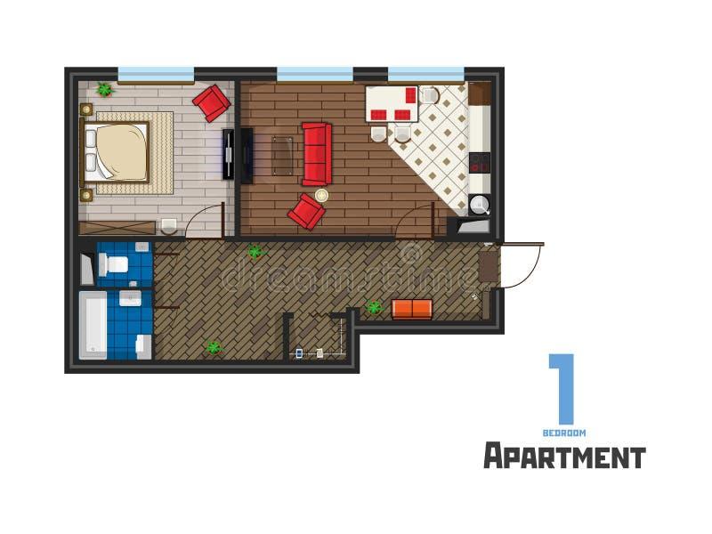 Die Schlafzimmerwohnung des Projektes eins mit Möbeln lizenzfreie abbildung