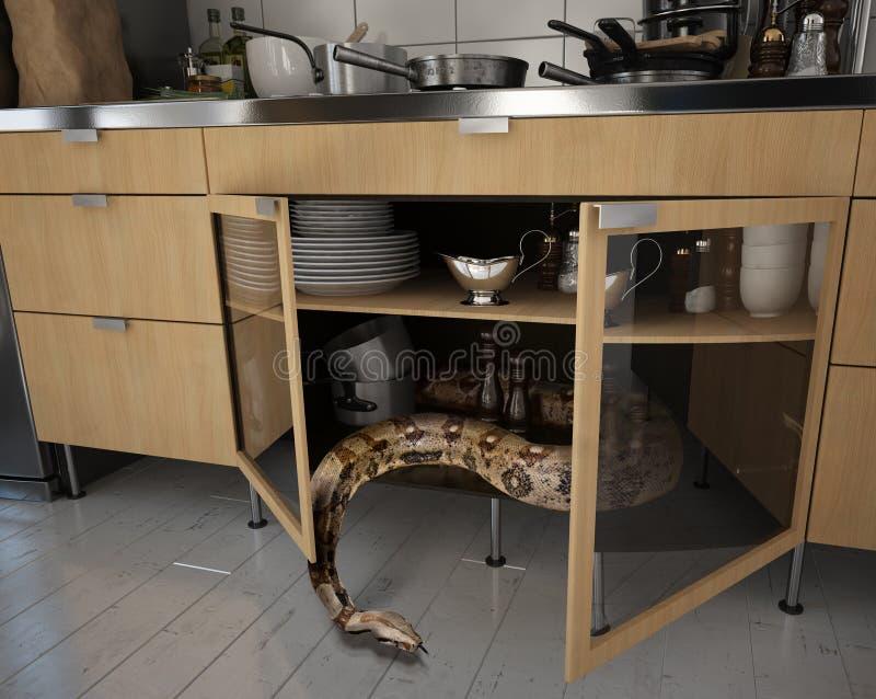 Die Schlange in der Küche lizenzfreie abbildung