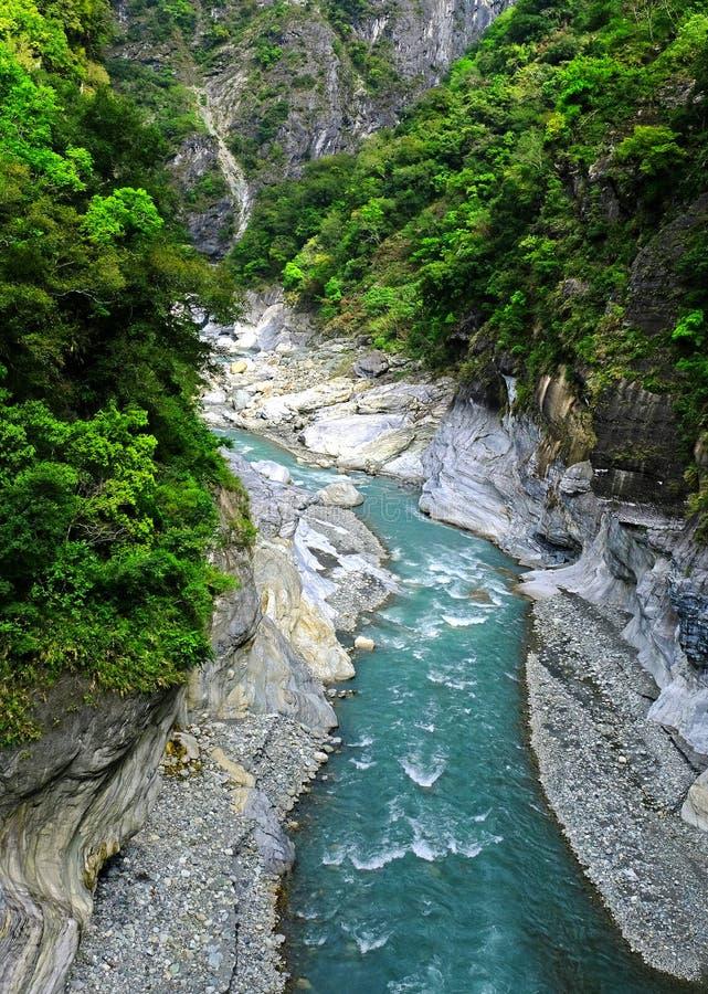 Die Schlucht in den Bergen, wenn ein reißender Fluss in es fließt, ein Gebirgsstrom lizenzfreie stockfotografie