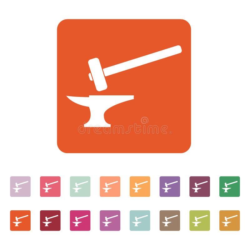 Die Schmiedeikone Schmiede und stithy, Schmiedesymbol flach lizenzfreie abbildung