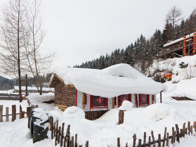 Die Schneestadt stockfoto