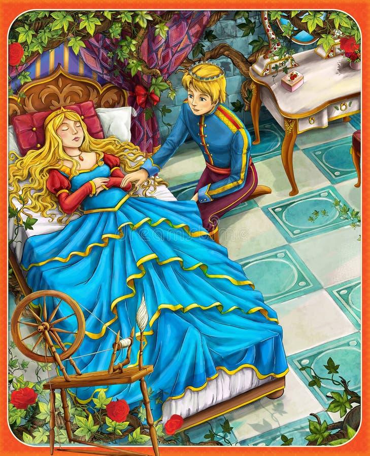 Die Schneewittchen - Prinz oder Prinzessin - Schlösser - Ritter und Feen - Illustration für die Kinder stock abbildung