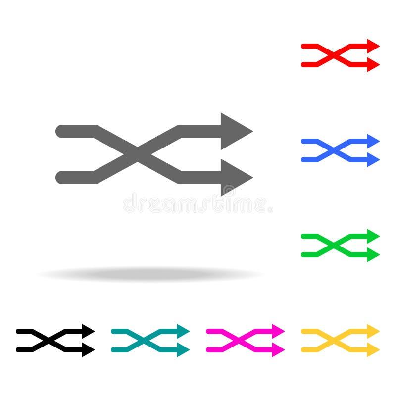 Die schneidene Pfeilikone Elemente in den multi farbigen Ikonen für bewegliche Konzept und Netz apps Ikonen für Website Design un stock abbildung