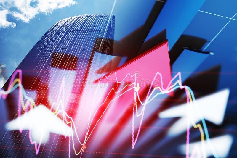 Die schnelle Entwicklung des Wirtschaftspfeiles stockbild