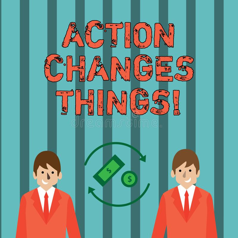 Die Schreibensanmerkung, die Aktion zeigt, ändert Sachen Das zur Schau stellende Geschäftsfoto, sich zu verbessern stehen nicht n stock abbildung