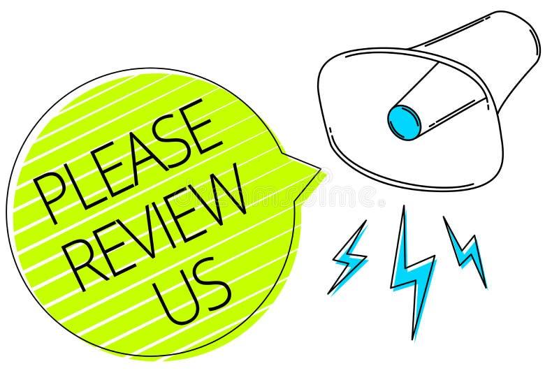 Die Schreibensanmerkung, die bitte darstellt, wiederholen uns Die Geschäftsfotopräsentation geben eine Feedback Meinungs-Kommenta lizenzfreie abbildung