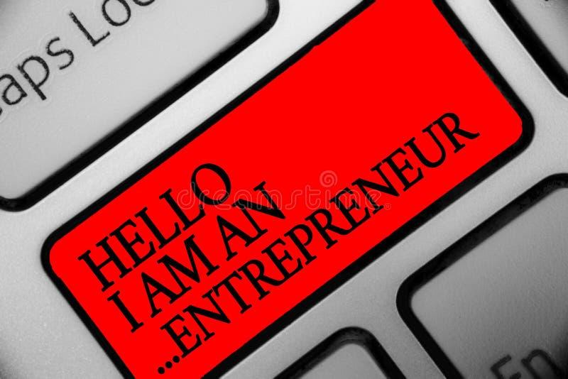 Die Schreibensanmerkung, die hallo bin mich zeigt, unternehmer Präsentationsperson des Geschäftsfotos, die eine Geschäft oder Sta lizenzfreie stockfotos