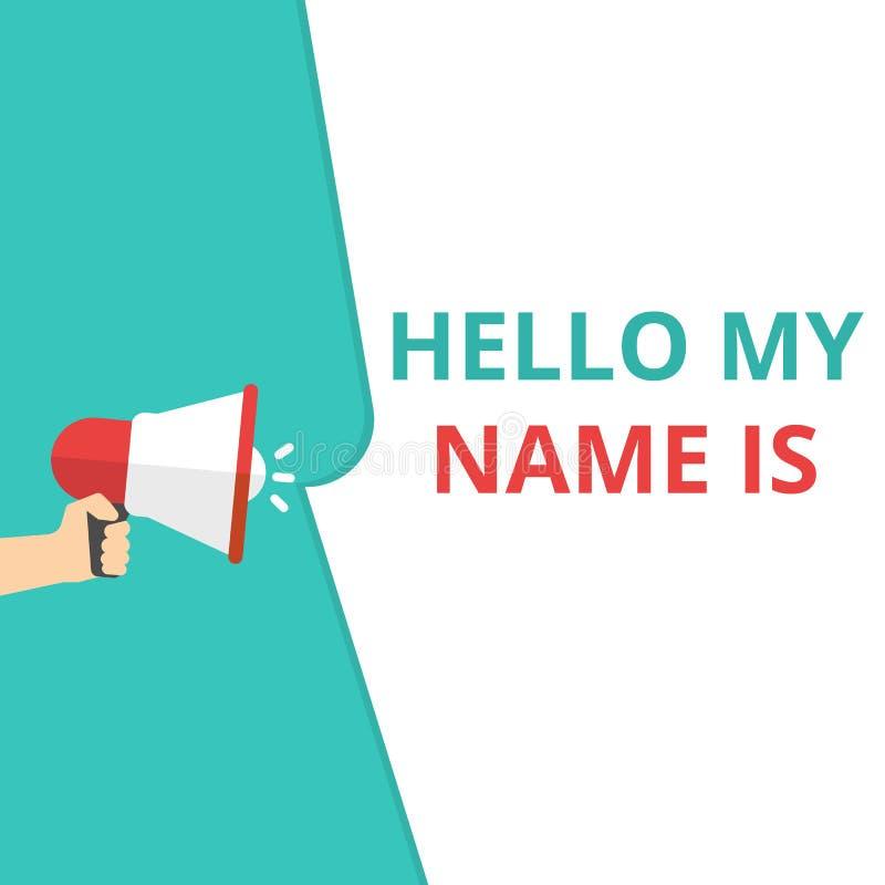 Die Schreibensanmerkung, die hallo meinen Namen zeigt, ist stock abbildung