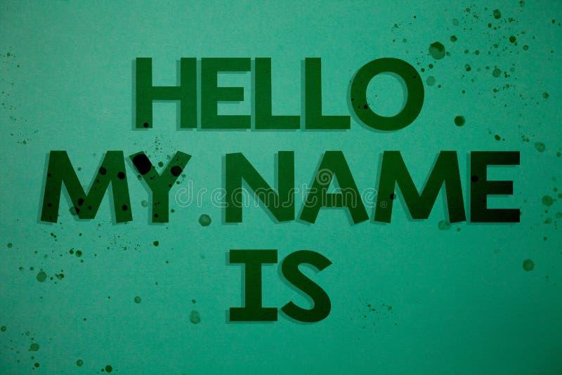 Die Schreibensanmerkung, die hallo meinen Namen zeigt, ist Die Geschäftsfotopräsentation stellen sich Sitzung jemand neues Darste lizenzfreie abbildung