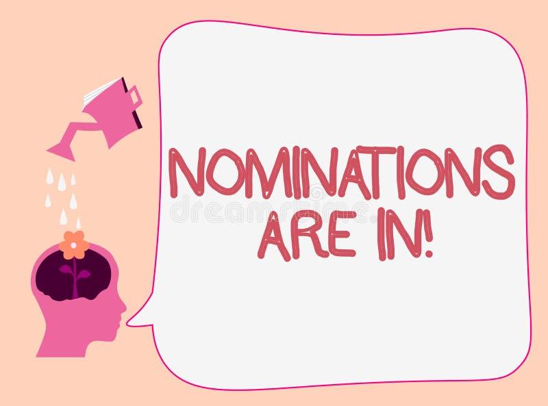 Die Schreibensanmerkung, die Nominierungen zeigt, sind herein Geschäftsfoto, das jemand formal wählen offizieller Kandidat für zu lizenzfreie abbildung