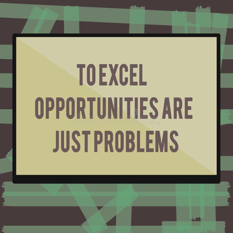 Die Schreibensanmerkung, die zu Excel-Gelegenheiten darstellt, sind gerade Probleme Geschäftsfoto Präsentationskuschelecke-Furcht vektor abbildung