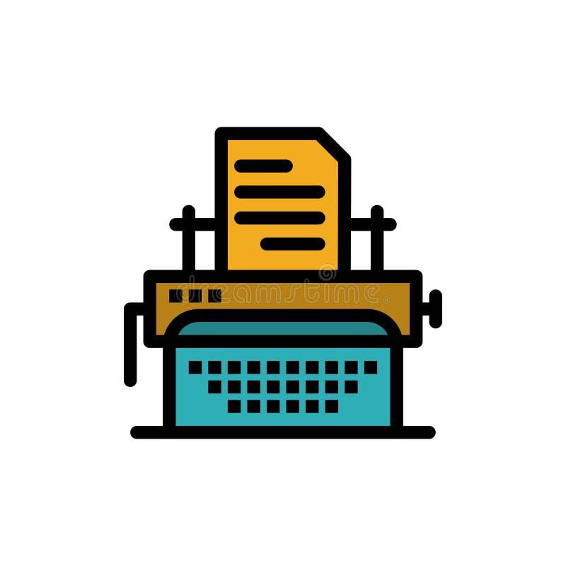 Die Schreibmaschine, schreibend, Dokument, veröffentlichen flache Farbikone Vektorikonen-Fahne Schablone vektor abbildung