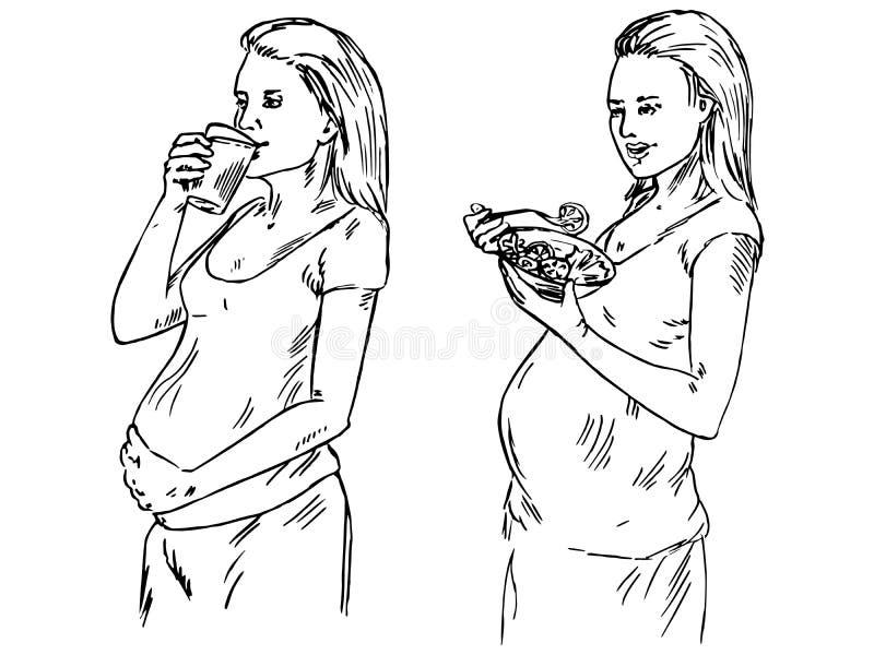 Die schwangere Frau ist, essend stehend und Salat und anderer trinkend vom Glas stock abbildung