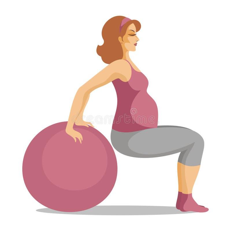 Die schwangere Frau tut Gymnastik lizenzfreie abbildung