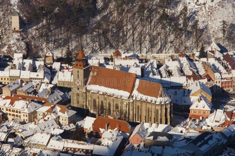 Die schwarze Kirche in alter Brasov-Stadt, Rumänien lizenzfreies stockbild