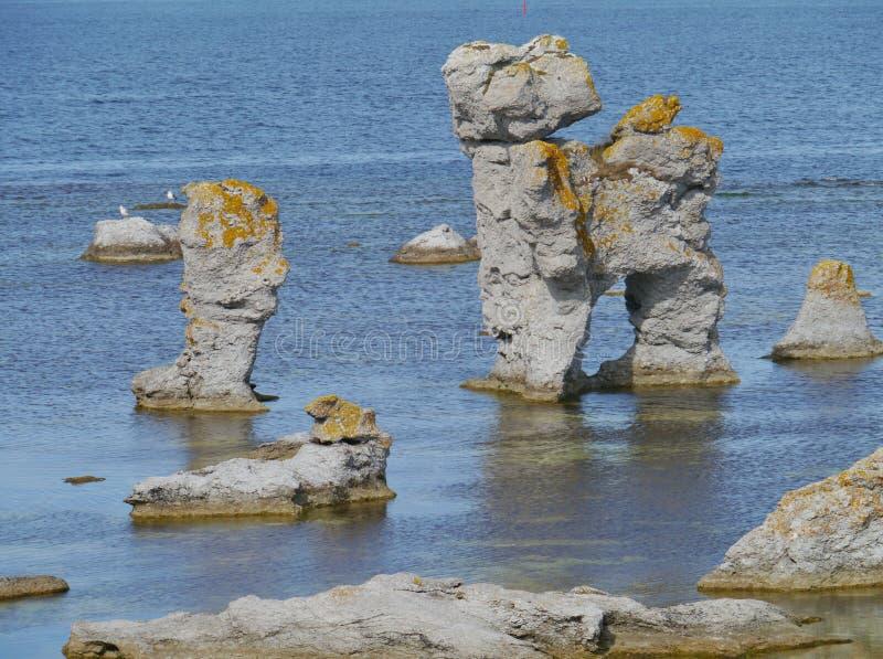 Die schwedische raukar Insel Faro lizenzfreie stockfotografie