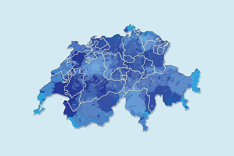Die Schweiz-Aquarellkarten-Vektorillustration der blauen Farbe mit Grenzen von verschiedenen Regionen oder von Bezirken auf helle vektor abbildung