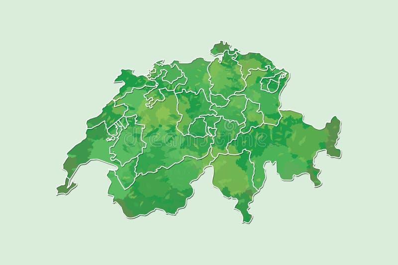Die Schweiz-Aquarellkarten-Vektorillustration der grünen Farbe mit Grenzen von verschiedenen Regionen oder von Bezirken auf Licht lizenzfreie abbildung
