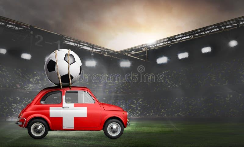 Die Schweiz-Auto auf Fußballstadion stockfotos