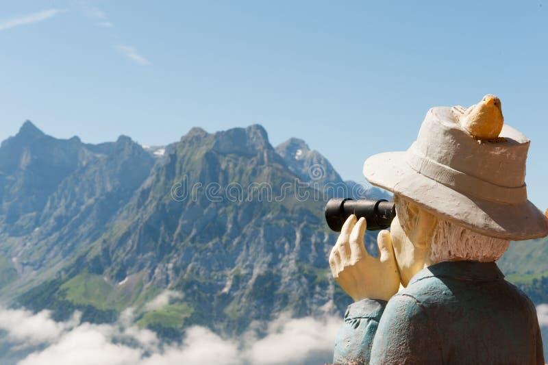 Die Schweiz, die zu den Bergen schaut stockfotografie