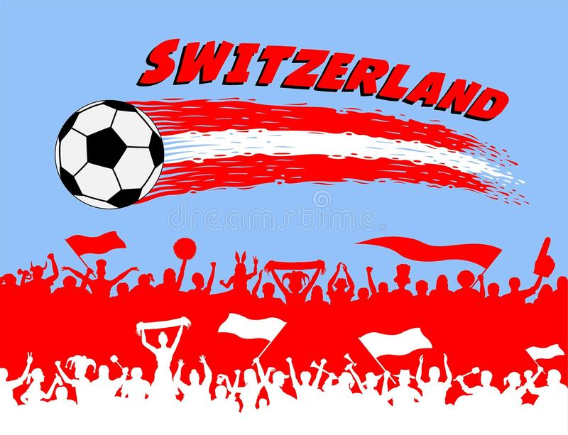Die Schweiz-Flaggenfarben mit Fußball- und Schweizeranhängersi vektor abbildung