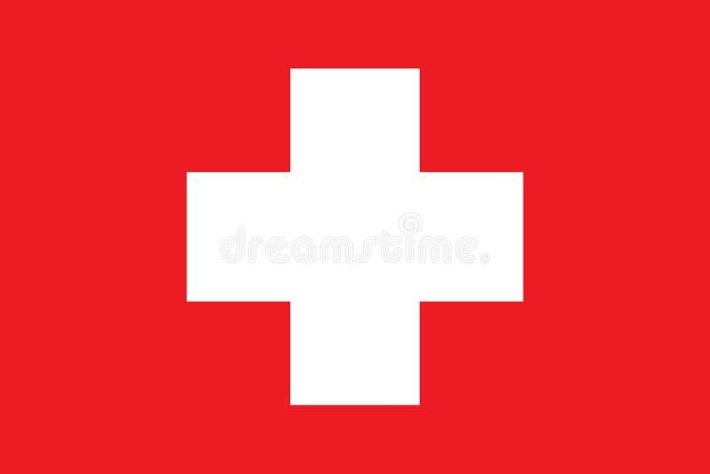 Die Schweiz-Flaggenvektorillustration Die Schweiz-Markierungsfahne eingebürgert stock abbildung