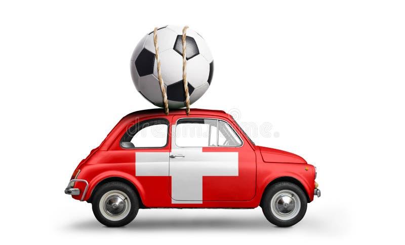 Die Schweiz-Fußballauto lizenzfreies stockbild
