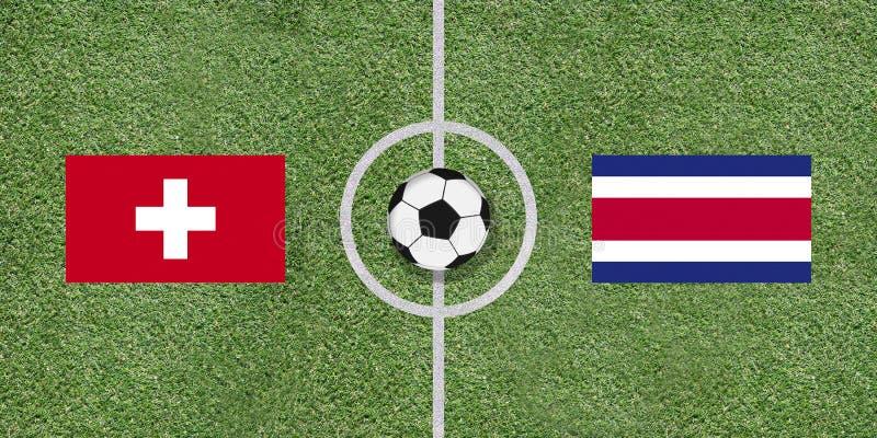 Die Schweiz gegen internationale Fußballspielflaggen Costa Ricas auf FO stockbild