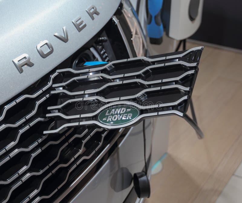 Die Schweiz; Genf; Am 8. März 2018; Elektrisches Range Rover-chargin stockfotos