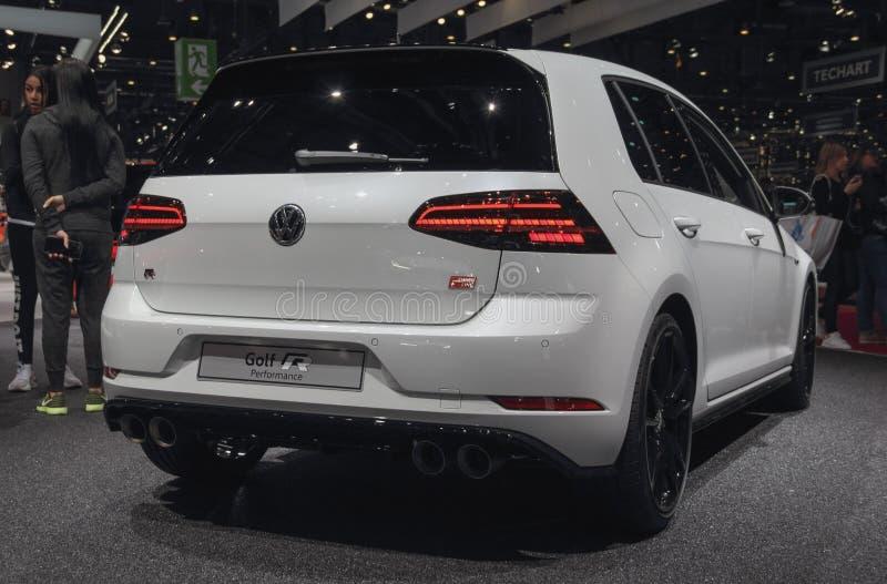 Die Schweiz; Genf; Am 10. März 2019; Leistung Volkswagen Passat-Golfs R, hintere Ansicht; Die 89. Internationale Automobilausstel stockfotografie