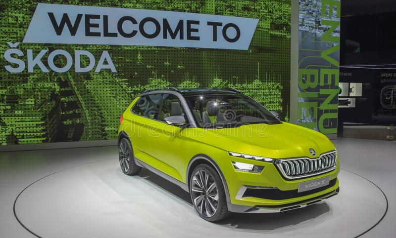 Die Schweiz; Genf; Am 10. März 2018; Die Skoda-Vision X; Die 88. Internationale Automobilausstellung in Genf von 8. bis 18. von M lizenzfreies stockfoto