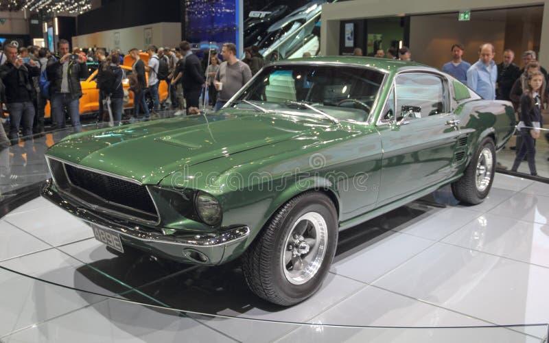 Die Schweiz; Genf; Am 8. März 2018; Vorderseite Ford Mustangs 1968 stockfotografie
