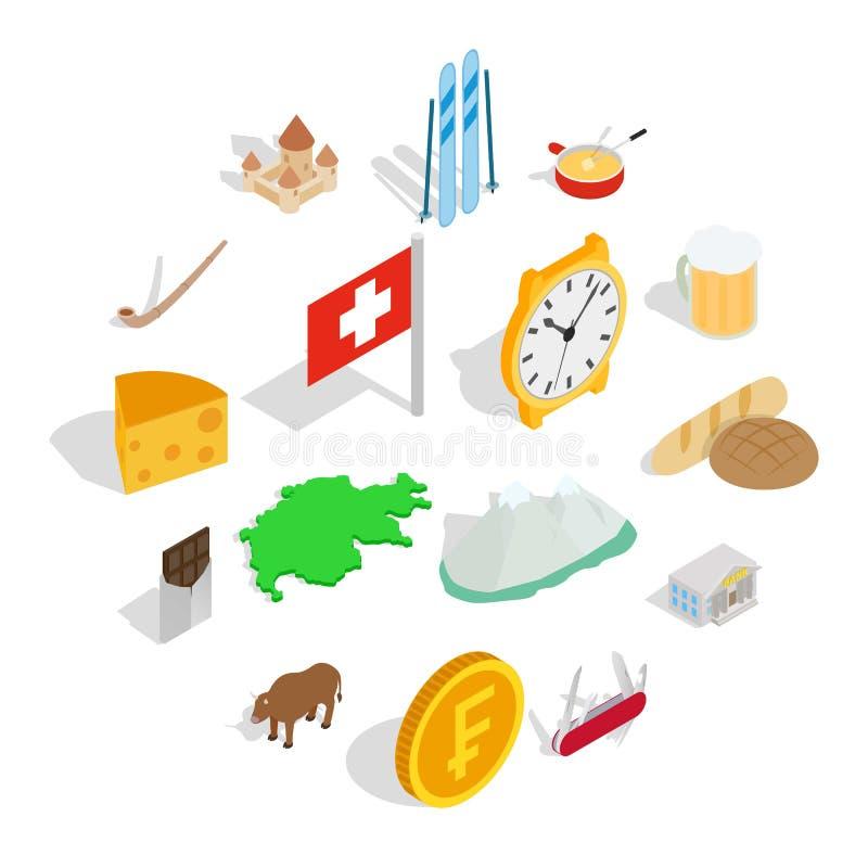 Die Schweiz-Ikonen eingestellt, isometrische Art 3d stock abbildung