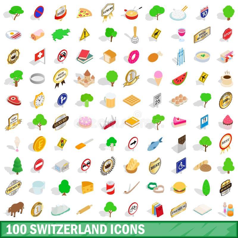 100 die Schweiz-Ikonen eingestellt, isometrische Art 3d stock abbildung
