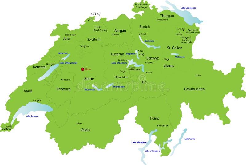 Die Schweiz-Karte, lizenzfreie abbildung