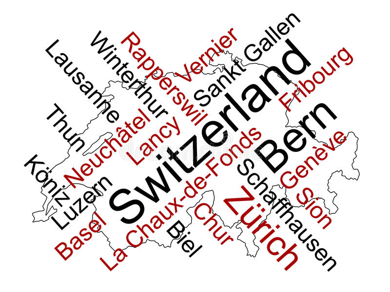 Die Schweiz-Karte und Städte stock abbildung