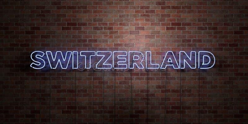 Die SCHWEIZ - Leuchtstoffneonröhre-Zeichen auf Maurerarbeit - Vorderansicht - 3D übertrug freies Bild der Abgabe auf Lager lizenzfreie abbildung