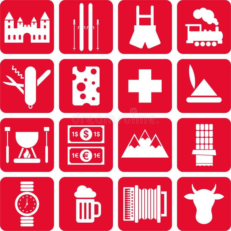 Die Schweiz-Piktogramme lizenzfreie abbildung