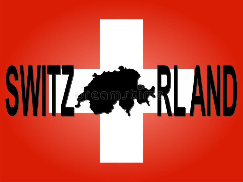 Die Schweiz-Text mit Karte stock abbildung