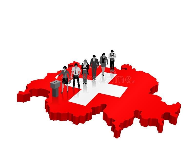 Die Schweiz-Wahl über einer Karte 3D mit Schweizer Staatsbürgern und Flagge lizenzfreie abbildung