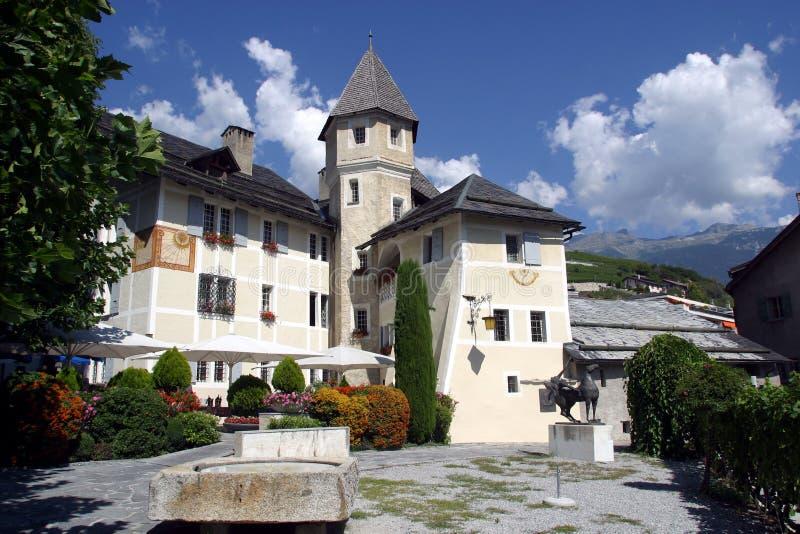 Die Schweiz, Wallis, Sierre, Chateau du Ville lizenzfreie stockfotos