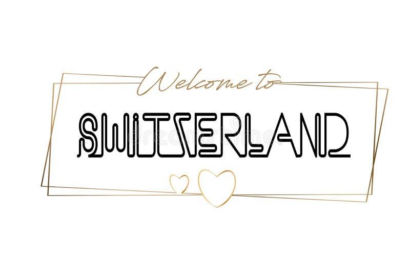Die Schweiz-Willkommen, zum der beschriftenden Neontypographie zu simsen Wort für Firmenzeichen, Ausweis, Ikone, Postkarte, Logo, vektor abbildung
