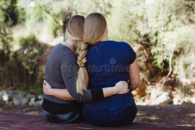 Die Schwestern, die mit dem langen Haar sich umarmen, flochten togther stockfotos